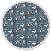 Farm Fresh Typography Country Cow Sheep Rooster Milk Blue Pattern Round Beach Towel