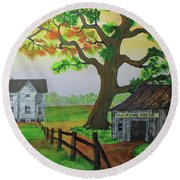 Round Beach Towel featuring the painting Farm Fresh Veggies by Jack G Brauer