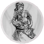 Farm Girl Round Beach Towel