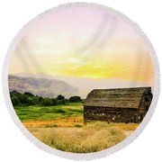 Twilight At The Okanagan Farm House Canada Round Beach Towel