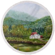 Farm In The Valley Round Beach Towel