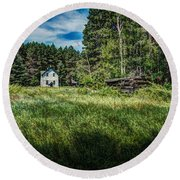 Farm In The Woods Round Beach Towel