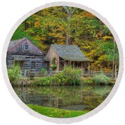 Farm In Woods Round Beach Towel