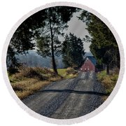 Round Beach Towel featuring the photograph Farm Lane by Robert Geary