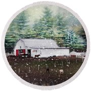 Round Beach Towel featuring the photograph Farm Life by Darren Fisher