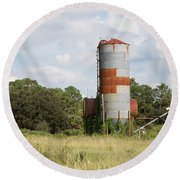 Farm Life - Retired Silo Round Beach Towel by Christopher L Thomley