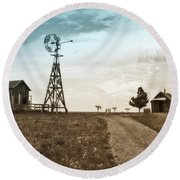 Round Beach Towel featuring the photograph Farm Life by Sharon Seaward