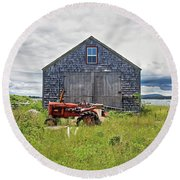 Farm On The Sea  Round Beach Towel