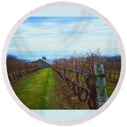 Round Beach Towel featuring the photograph Farm by Raymond Earley