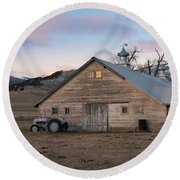 Farm Reflections Round Beach Towel
