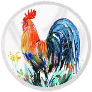 Round Beach Towel featuring the painting Farm Rooster by Zaira Dzhaubaeva