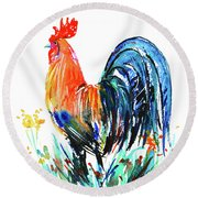Farm Rooster Round Beach Towel