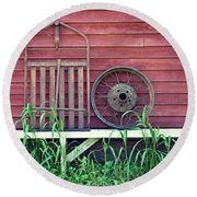 Farm Stuff On Willow Pond Round Beach Towel