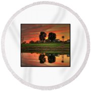 Round Beach Towel featuring the photograph Farm Sunset by Farol Tomson