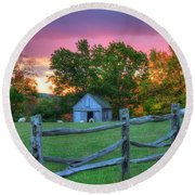 Round Beach Towel featuring the photograph Farm Sunset In Autumn - Hollis Nh by Joann Vitali