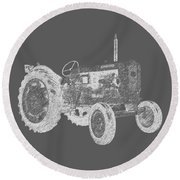 Farm Tractor Tee Round Beach Towel