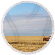 Farm Trailer In The Middle Of Field Round Beach Towel