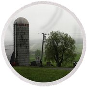 Farm View Amish Pennsylvania  Round Beach Towel