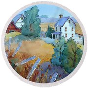 Farm With Blue Roof Tops Round Beach Towel