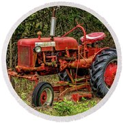 Round Beach Towel featuring the photograph Farmall Cub by Christopher Holmes