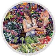 Farmer Market H Round Beach Towel by Tim Gilliland