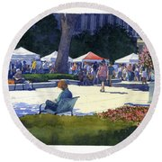Farmers Market, Madison Round Beach Towel