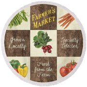 Farmer's Market Patch Round Beach Towel by Debbie DeWitt