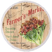 Farmer's Market Sign Round Beach Towel