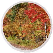Round Beach Towel featuring the photograph Farmers Path Of Fall Colors by Jeff Folger