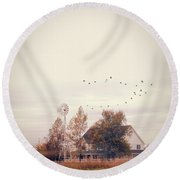 Round Beach Towel featuring the photograph Farmhouse And Windmill by Jill Battaglia
