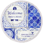 Farmhouse Blue And White Tile 1 - Welcome Family And Friends Round Beach Towel
