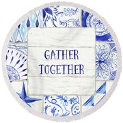 Farmhouse Blue And White Tile 2 -  Gather Together Round Beach Towel