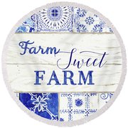 Farmhouse Blue And White Tile 5 - Farm Sweet Farm Round Beach Towel