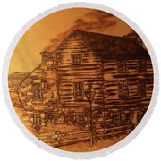 Round Beach Towel featuring the pyrography Farmhouse by Denise Tomasura