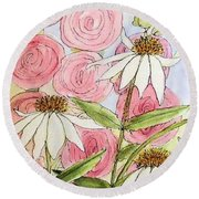 Round Beach Towel featuring the painting Farmhouse Garden by Laurie Rohner