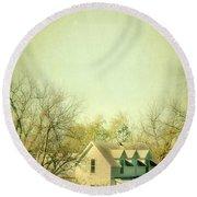 Round Beach Towel featuring the photograph Farmhouse In Arkansas by Jill Battaglia