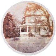 Round Beach Towel featuring the photograph Farmhouse In Snow by Jill Battaglia