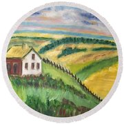 Round Beach Towel featuring the painting Farmhouse On A Hill by Diane Pape