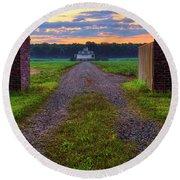Round Beach Towel featuring the photograph Farmhouse Sunrise - Arkansas - Landscape by Jason Politte