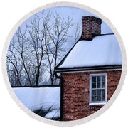 Round Beach Towel featuring the photograph Farmhouse Window by Robert Geary