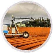 Farming Field Equipment Round Beach Towel