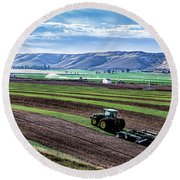 Farming In Pardise Agriculture Art By Kaylyn Franks Round Beach Towel