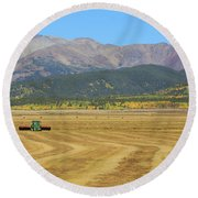 Farming In The Highlands Round Beach Towel by David Chandler