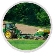 Farming The Field Round Beach Towel