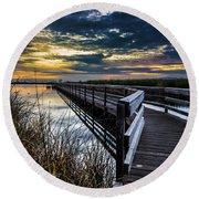 Farmington Bay Sunset - Great Salt Lake Round Beach Towel