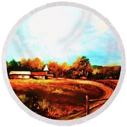 Farmland In Autumn Round Beach Towel