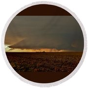 Round Beach Towel featuring the photograph Farmland Supercell by Ed Sweeney