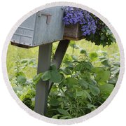 Farm's Mailbox Round Beach Towel
