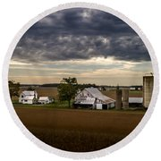 Farmstead Under Clouds Round Beach Towel