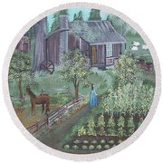 Round Beach Towel featuring the painting Farmstead by Virginia Coyle